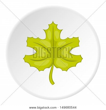 Autumn leaf icon in cartoon style on white circle background. Plant symbol vector illustration