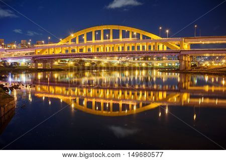 Night view of Mc Arthur bridge in Taipei