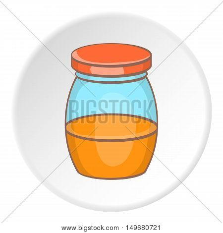 Little honey in jar icon in cartoon style on white circle background. Food symbol vector illustration