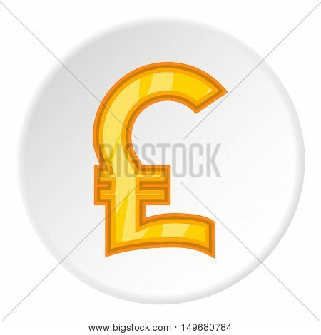 Sign of money pound sterling icon in cartoon style on white circle background. Currency symbol vector illustration