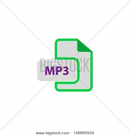 MP3 Icon Vector. Flat simple color pictogram