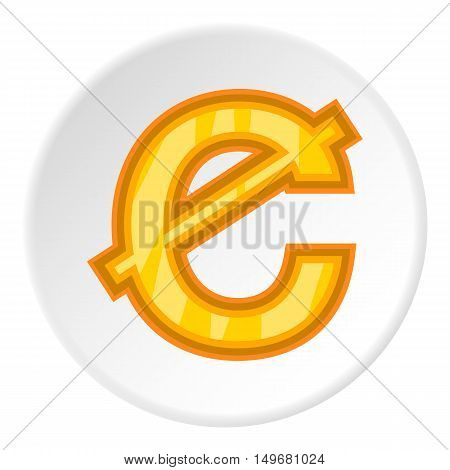 Sign of money ghanaian cedi icon in cartoon style on white circle background. Currency symbol vector illustration