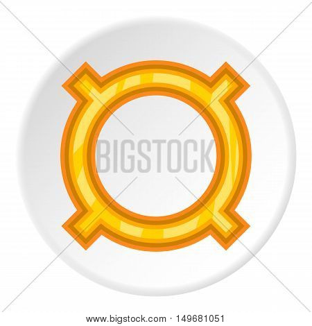 Sign for all currencies icon in cartoon style on white circle background. Currency symbol vector illustration