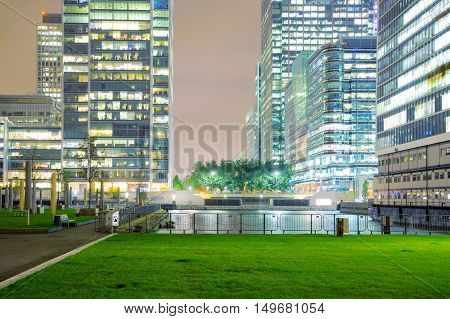Canary Wharf financial district buildings at night time