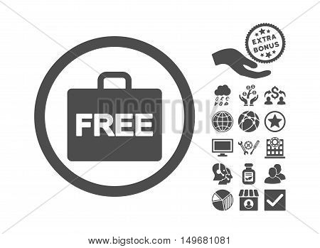 Free Accounting icon with bonus pictogram. Vector illustration style is flat iconic symbols gray color white background.