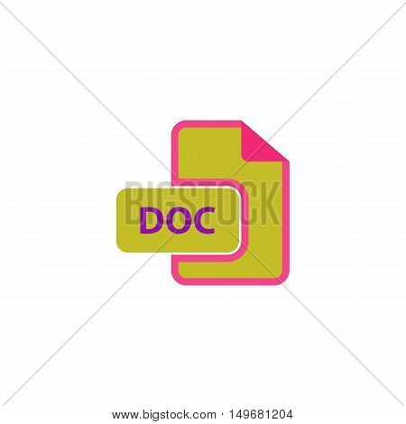 DOC Icon Vector. Flat simple color pictogram