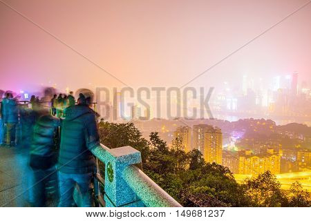 CHONGQING CHINA - DECEMBER 31: This is a view of Chongqing taken from Yikeshu mountain where many tourists go to see views of the city on December 31st 2014 in Chongqing