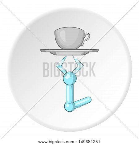 Robot arm holding tray with mug of tea icon in cartoon style on white circle background. Technology symbol vector illustration