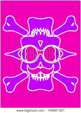 purple devil skull with glasses and bones and pink background