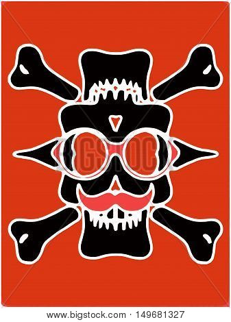 black devil skull with glasses and bones and red background