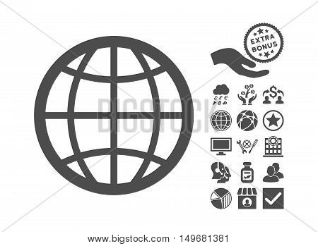 Globe icon with bonus icon set. Vector illustration style is flat iconic symbols, gray color, white background.