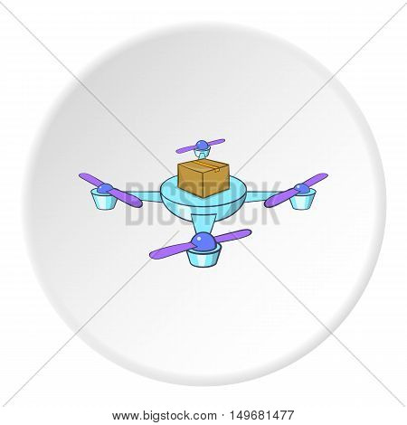 Quadcopter icon in cartoon style on white circle background. Device symbol vector illustration
