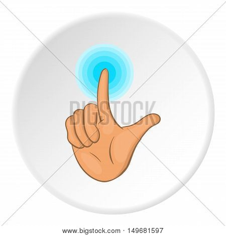 Gesture idea icon in cartoon style on white circle background. Gestural symbol vector illustration
