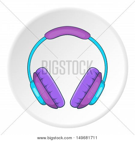 Music headphones icon in cartoon style on white circle background. Sound symbol vector illustration