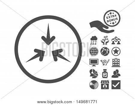 Impact Arrows icon with bonus elements. Vector illustration style is flat iconic symbols, gray color, white background.