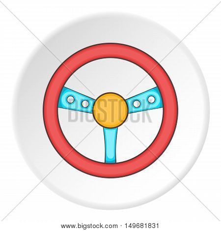 Gaming steering wheel icon in cartoon style on white circle background. Play symbol vector illustration