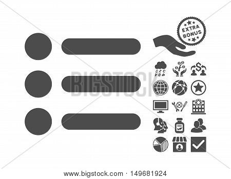 Items icon with bonus elements. Vector illustration style is flat iconic symbols gray color white background.