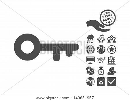Key pictograph with bonus design elements. Vector illustration style is flat iconic symbols gray color white background.