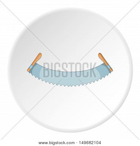 Two man saw icon in cartoon style on white circle background. Tools symbol vector illustration