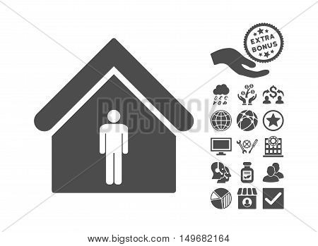 Man Toilet Building pictograph with bonus pictograph collection. Vector illustration style is flat iconic symbols gray color white background.
