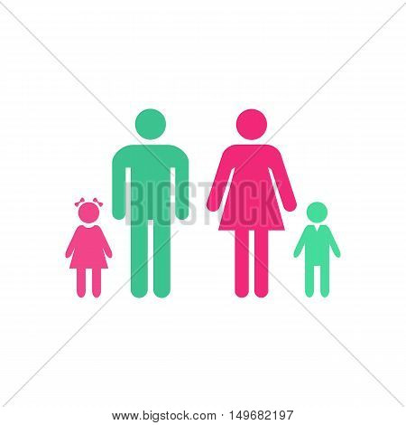 Family Icon Vector. Flat simple color pictogram