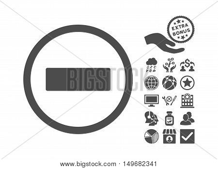 Minus pictograph with bonus pictograph collection. Vector illustration style is flat iconic symbols gray color white background.