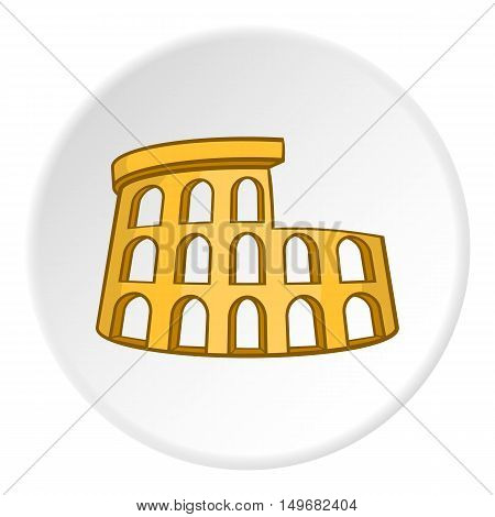 Colosseum icon in cartoon style on white circle background. Landmark symbol vector illustration