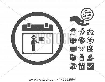 National Holiday Day icon with bonus elements. Vector illustration style is flat iconic symbols, gray color, white background.