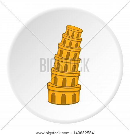 Leaning tower of Pisa icon in cartoon style on white circle background. Landmark symbol vector illustration