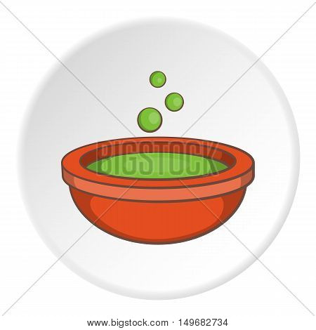 Cauldron of brew icon in cartoon style on white circle background. Cooking symbol vector illustration