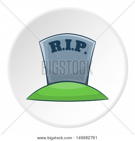 Grave RIP icon in cartoon style on white circle background. Death symbol vector illustration