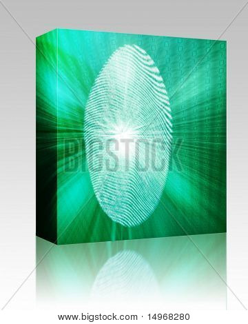 Software package box Digital fingerprint biometric security indentifaction, graphic illustration