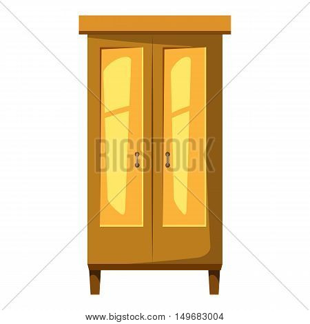 Wardrobe for clothes icon in cartoon style isolated on white background. Furniture symbol vector illustration