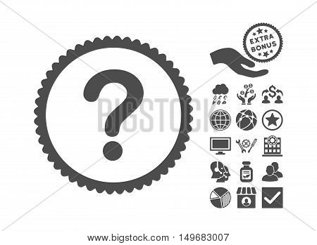 Question icon with bonus pictures. Vector illustration style is flat iconic symbols, gray color, white background.
