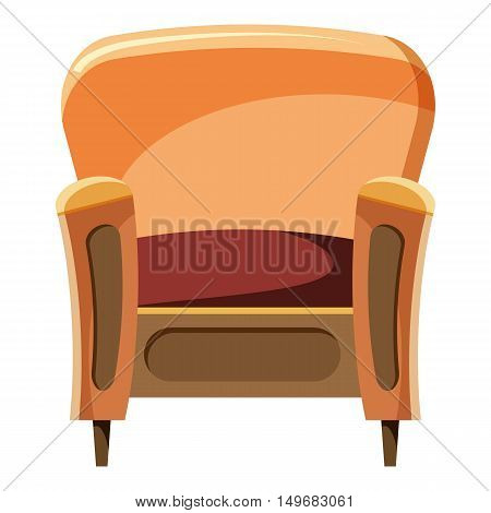 Chair with wood trim icon in cartoon style isolated on white background. Home and interior symbol vector illustration