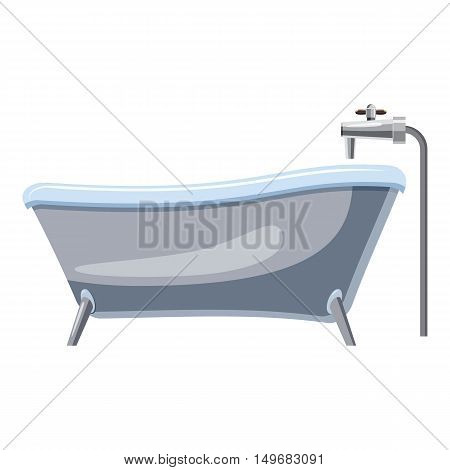 Bath on legs icon in cartoon style isolated on white background. Bathroom and bathing symbol vector illustration
