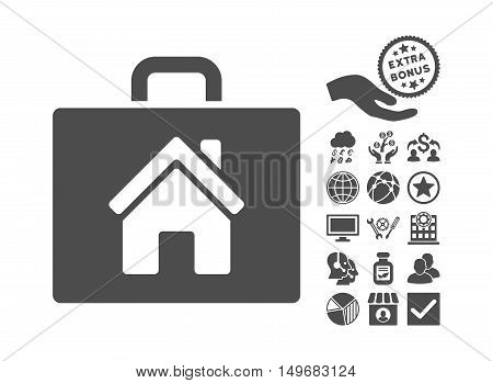 Realty Case icon with bonus elements. Vector illustration style is flat iconic symbols gray color white background.