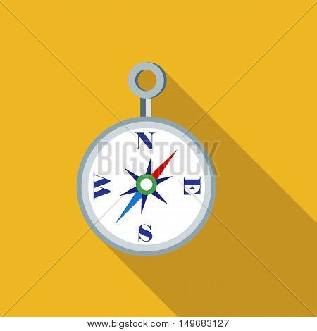 Compass icon in flat style with long shadow. Location symbol vector illustration