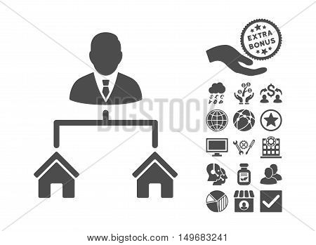 Realty Manager pictograph with bonus pictogram. Vector illustration style is flat iconic symbols gray color white background.