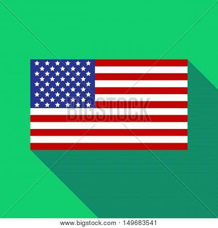 American flag icon in flat style with long shadow. State symbol vector illustration