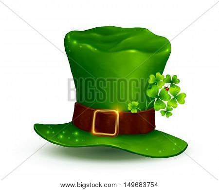 Realistic vector Leprechauns green hat isolated on white background