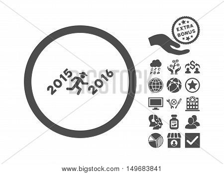 Run to 2016 Year pictograph with bonus images. Vector illustration style is flat iconic symbols gray color white background.