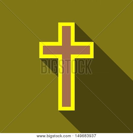 Cross icon in flat style with long shadow. Religion symbol vector illustration