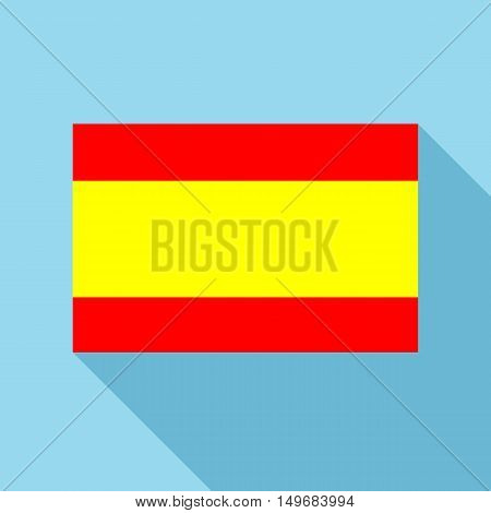Flag of Spain icon in flat style with long shadow. State symbol vector illustration