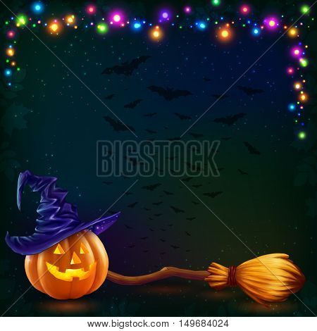 Vector Halloween pumpkin and witchs broom on dark background with colorful lamps garland