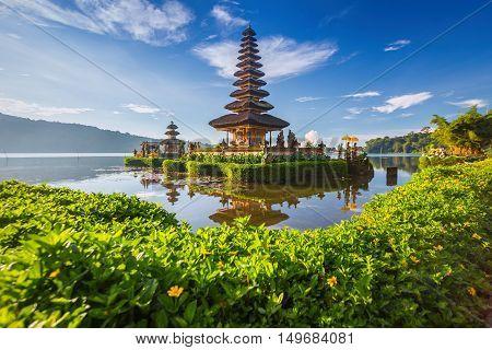 Pura Ulun Danu Bratan or Pura Beratan Temple Bali island Indonesia. Pura Ulun Danu Bratan is a major Shivaite and water temple on Bali island Indonesia.