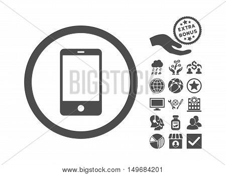 Smartphone pictograph with bonus pictograph collection. Vector illustration style is flat iconic symbols, gray color, white background.