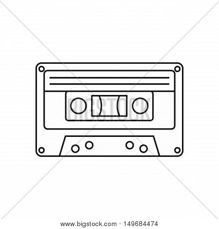 Audio cassette icon in outline style isolated on white background vector illustration