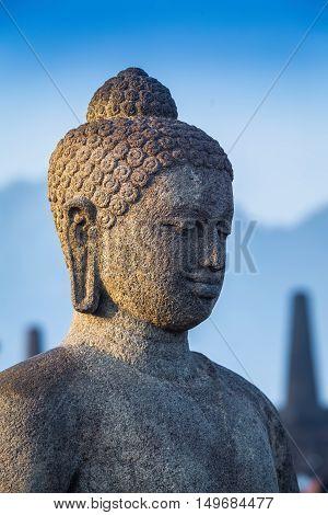 Stoned image of Buddha in Borobudur Indonesia