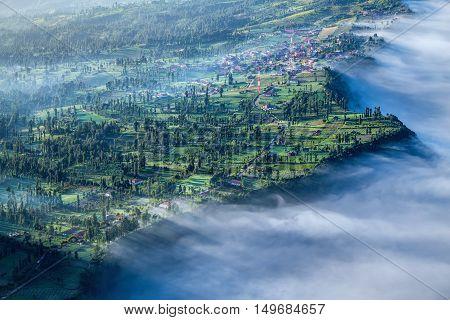 Cemoro lawang village at mount Bromo in Bromo tengger semeru national park East Java Indonesia